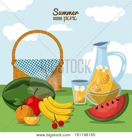 colorful poster of summer picnic with field landscape and picnic basket with juice jar and fruits vector illustration