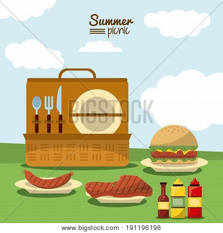 colorful poster of summer picnic with outdoor landscape and picnic basket with cutlery set and dishes with meat and sausage and hamburger vector illustration