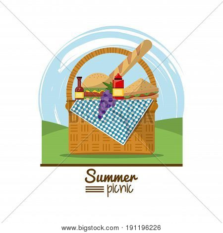 colorful logo summer picnic with outdoor landscape and picnic basket full of food vector illustration