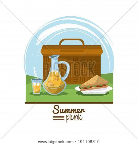 colorful logo summer picnic with outdoor landscape with picnic basket and dish with sandwich and juice jar vector illustration