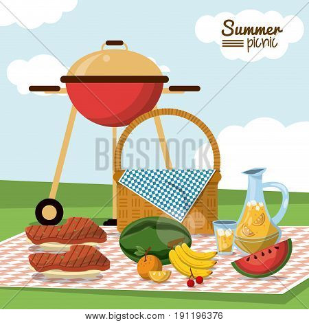 colorful poster of summer picnic with field landscape and picnic basket in tablecloth with charcoal grill and juice jar and fruits and meat to grill vector illustration