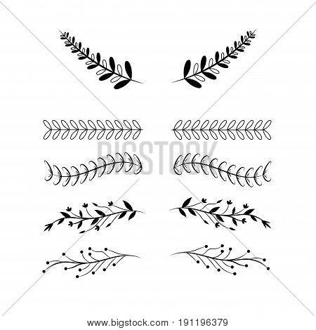 set rustic natural branches concept vector illustration