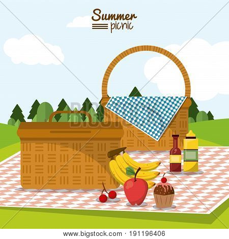colorful poster of summer picnic with field landscape and two picnic basket in tablecloth with fruits and dessert vector illustration