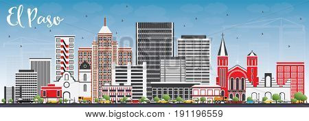 El Paso Skyline with Gray Buildings and Blue Sky. Business Travel and Tourism Concept with Modern Architecture. Image for Presentation Banner Placard and Web Site.