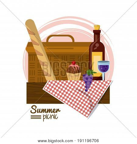colorful logo summer picnic with picnic basket on table over tablecloth with french bread and dessert and wine bottle vector illustration