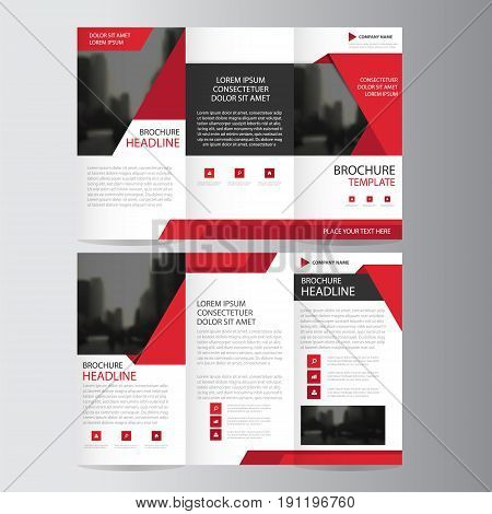 Red triangle business trifold Leaflet Brochure Flyer report template vector minimal flat design set, abstract presentation layout templates a4 size poster