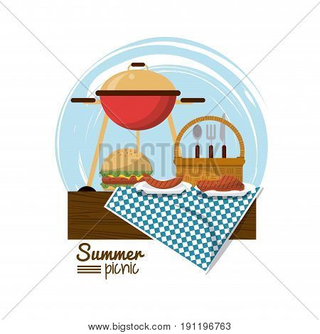 colorful logo summer picnic with charcoal grill and burger and picnic basket over tablecloth vector illustration