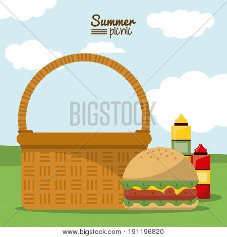 colorful poster of summer picnic with outdoor landscape with picnic basket with hamburger and sauces vector illustration