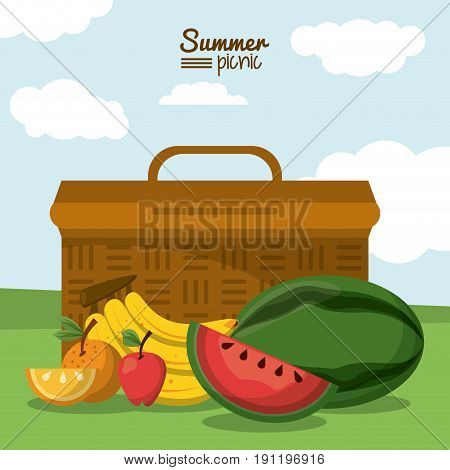 colorful poster of summer picnic with outdoor landscape with picnic basket and tropical fruits vector illustration
