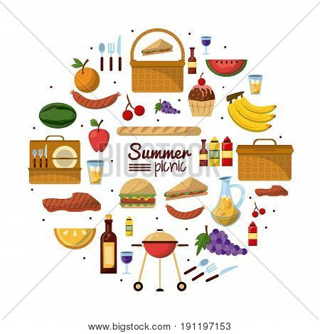 white background of colorful poster of summer picnic with set of utilities and food vector illustration