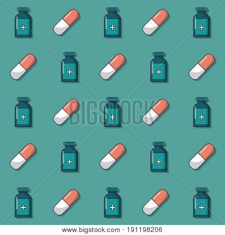 colorful background with pattern of medicine bottles and pills animated vector illustration