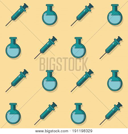 colorful background with pattern of syringes and test tubes vector illustration