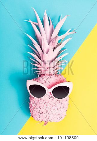 Painted Pineapple With Sunglasses