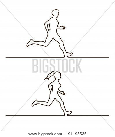 Line silhouettes of runners. set of linear runners figures