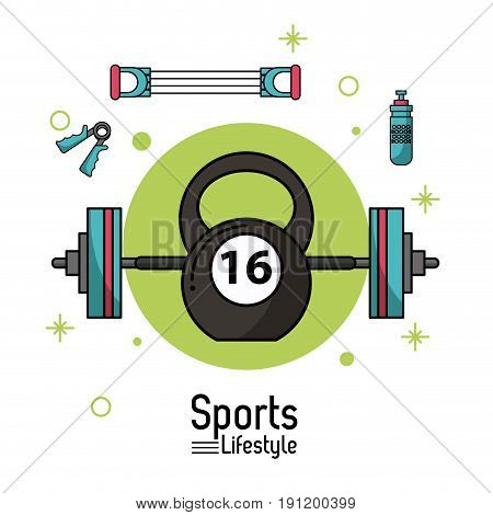 colorful poster of sports lifestyle with weightlifting icons vector illustration