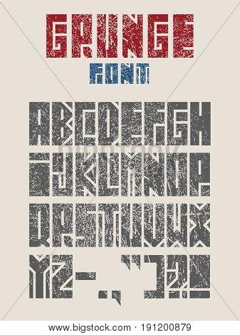 Vector Alphabet Set. Geometry style font. Punctuation symbols. Grunge texture effect