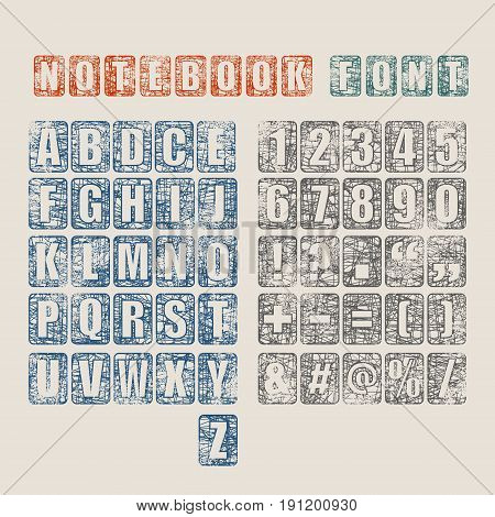 Vector alphabet set. Pen strokes font. Punctuation symbols and numbers in collection. Grunge texture effect