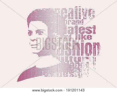 Face half turn view. Elegant silhouette of a female head. Vector Illustration. Monochrome gamma. Fashion Relative Keywords Cloud. Half tone effect