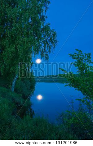 Beautiful Lunar Landscape On The Banks Of The River.