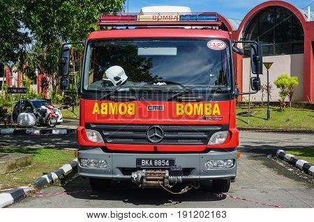 Labuan,Malaysia-May 21,2017:The Fire & Rescue Department of Malaysia fire truck parked and ready to duty in Labuan.Its also known as Bomba,is the federal fire & rescue services agency in Malaysia.