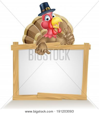 Thanksgiving sign with cartoon turkey bird wearing a pilgrim or puritan thanksgiving hat
