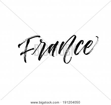 France card. European country. Ink illustration. Modern brush calligraphy. Isolated on white background.