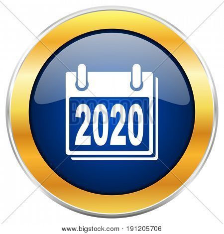 New year 2020 blue web icon with golden chrome metallic border isolated on white background for web and mobile apps designers.