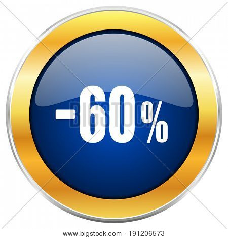 60 percent sale retail blue web icon with golden chrome metallic border isolated on white background for web and mobile apps designers.