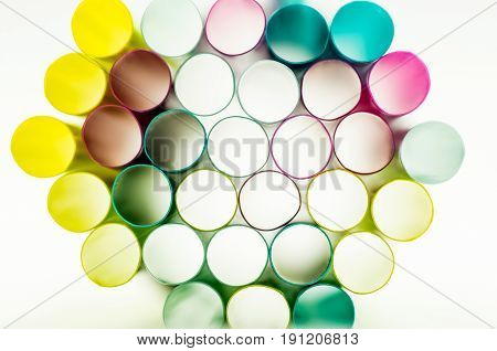 colorful drinking straws on the white background