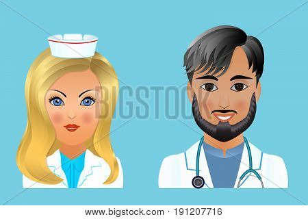 Medical clinic staff flat avatars of doctors nurses surgeon assistant. Hospital personnel multiracial faces.