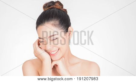 Beautiful Young asian Woman face portrait, Isolated on white background