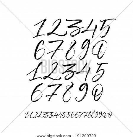 Set of vector numbers from 1 to 0. Ink illustration. Modern brush calligraphy. Isolated on white background.