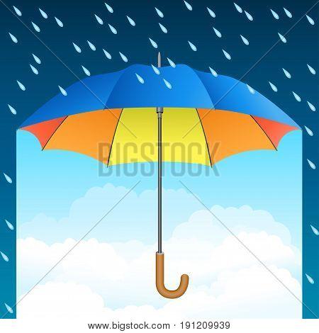 Colored realistic umbrella. Open umbrella on rain and blue sky background. Vector illustration