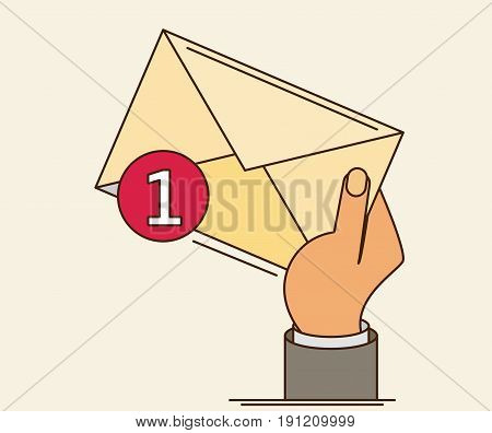 White Envelope Letter With Counter Notification, Postman Hand, Concept Of Incoming Email Message, Ma