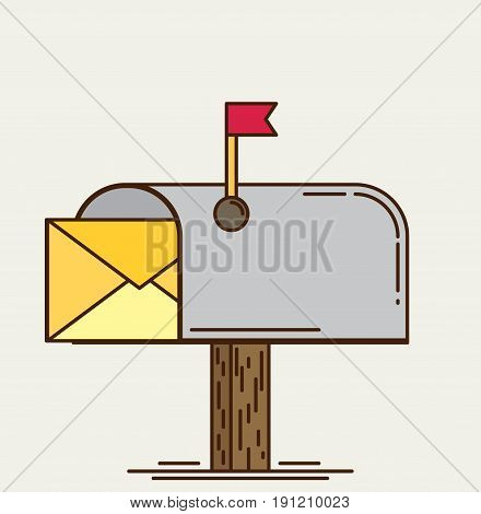 Vector mailbox icon flat for design and web