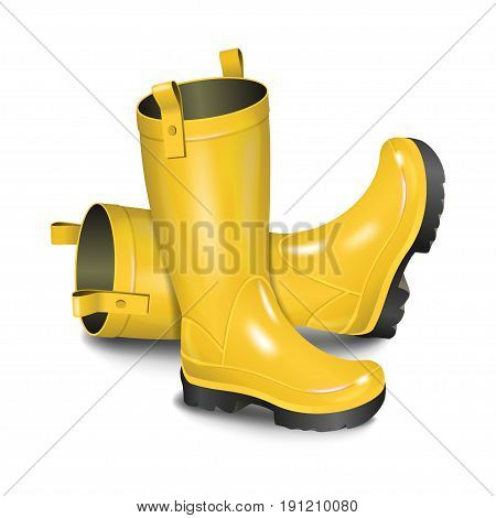 Pair of gumboots. Rain yellow boots isolated on white background. Realistic vector illustration