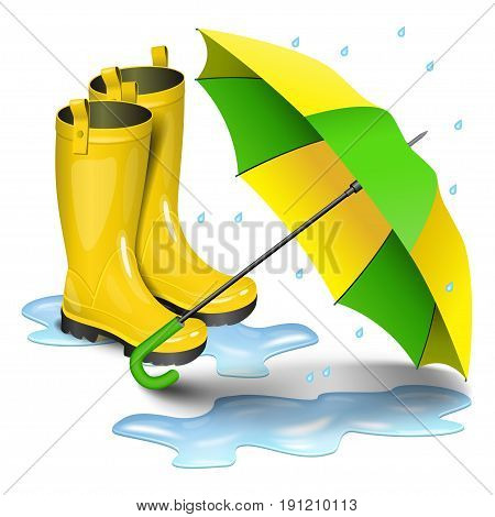 Gumboots and open umbrella. Rain yellow boots in puddles green and yellow umbrella isolated on white background. Realistic vector illustration