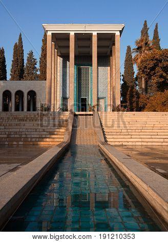Memorial building on burial place of Saadi the great Persian poet in Shiraz City of Iran.