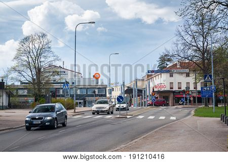 IMATRA, FINLAND - MAY 23, 2017 Day street view of Imatra