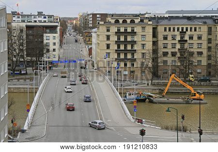 car bridge over river Aura in Turku Finland