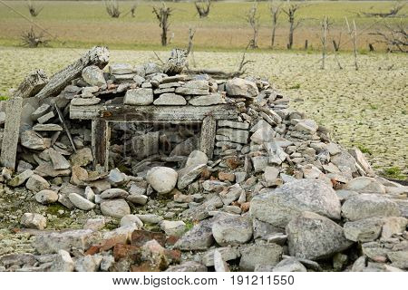 Water And Drought Damaged Building