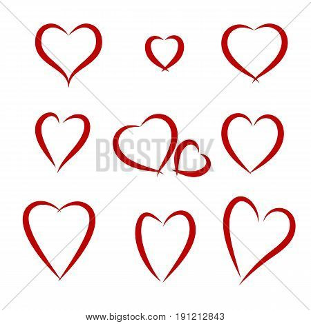 Set of schematic red hearts. Vector illustration isolated objects on white background