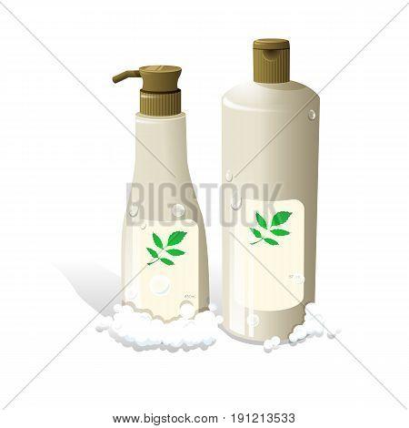 cosmetic hair shampoo realistic bottles packaging vector