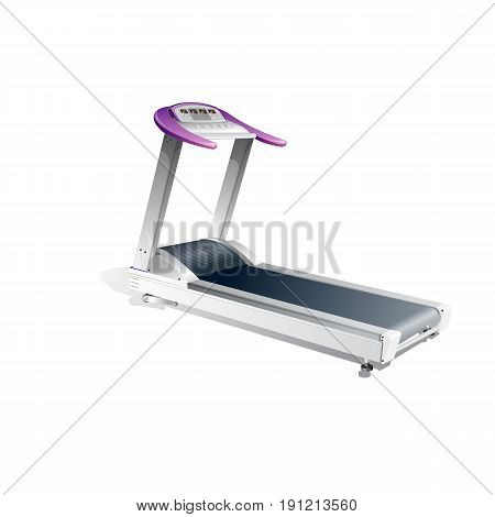 Realistic 3D Treadmill Isolated on White background