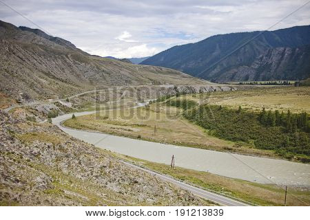 Chuya river And the Chuysky tract. Altai mountain landscape