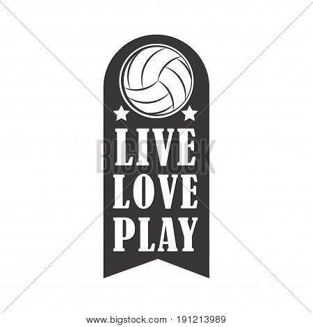 i love Volleyball badge, creative label for players competing in sport game, athletes and coaches motto, t-shirt badge for fan zone or volunteers, vector illustration
