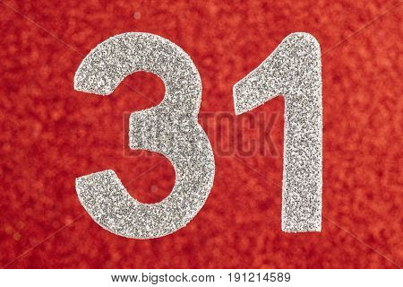 Number thirty-one silver color over a red background. Anniversary. Horizontal