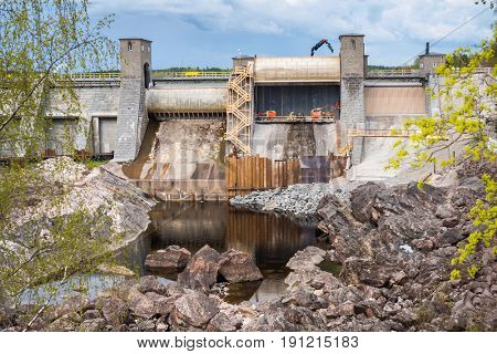 Hydroelectric power plant and dam under maintenance in Imatra, Finland