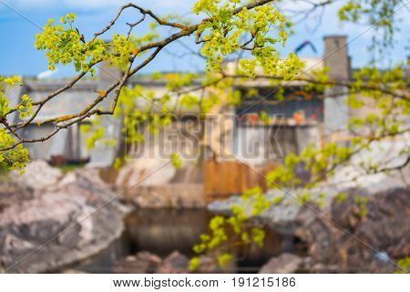 Hydroelectric power plant and dam in Imatra, Finland. Focus on tree branch