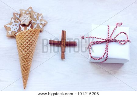 waffle cone full of baked goods and holiday gift / Christmas holiday formula